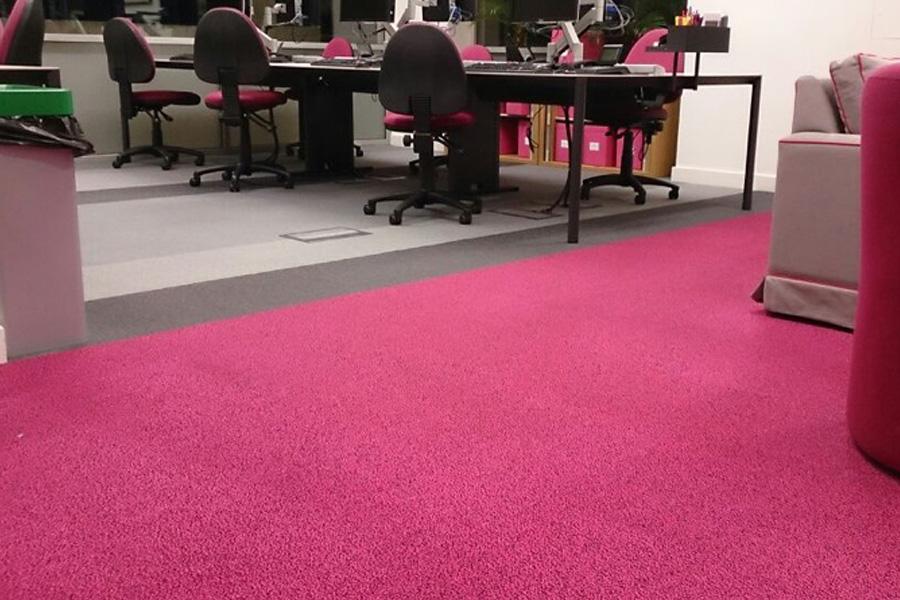 clean pink office carpet