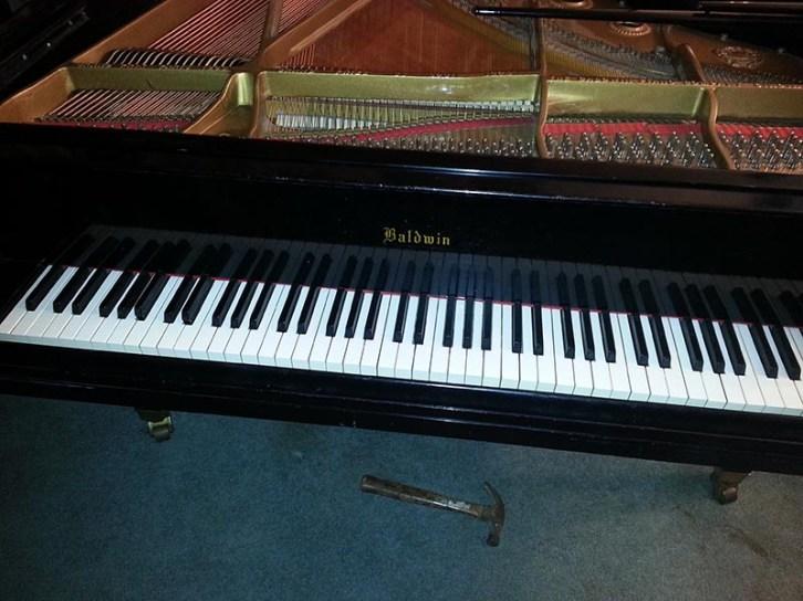 Baldwin L grand restoration keyboard Beavers Piano Restoration