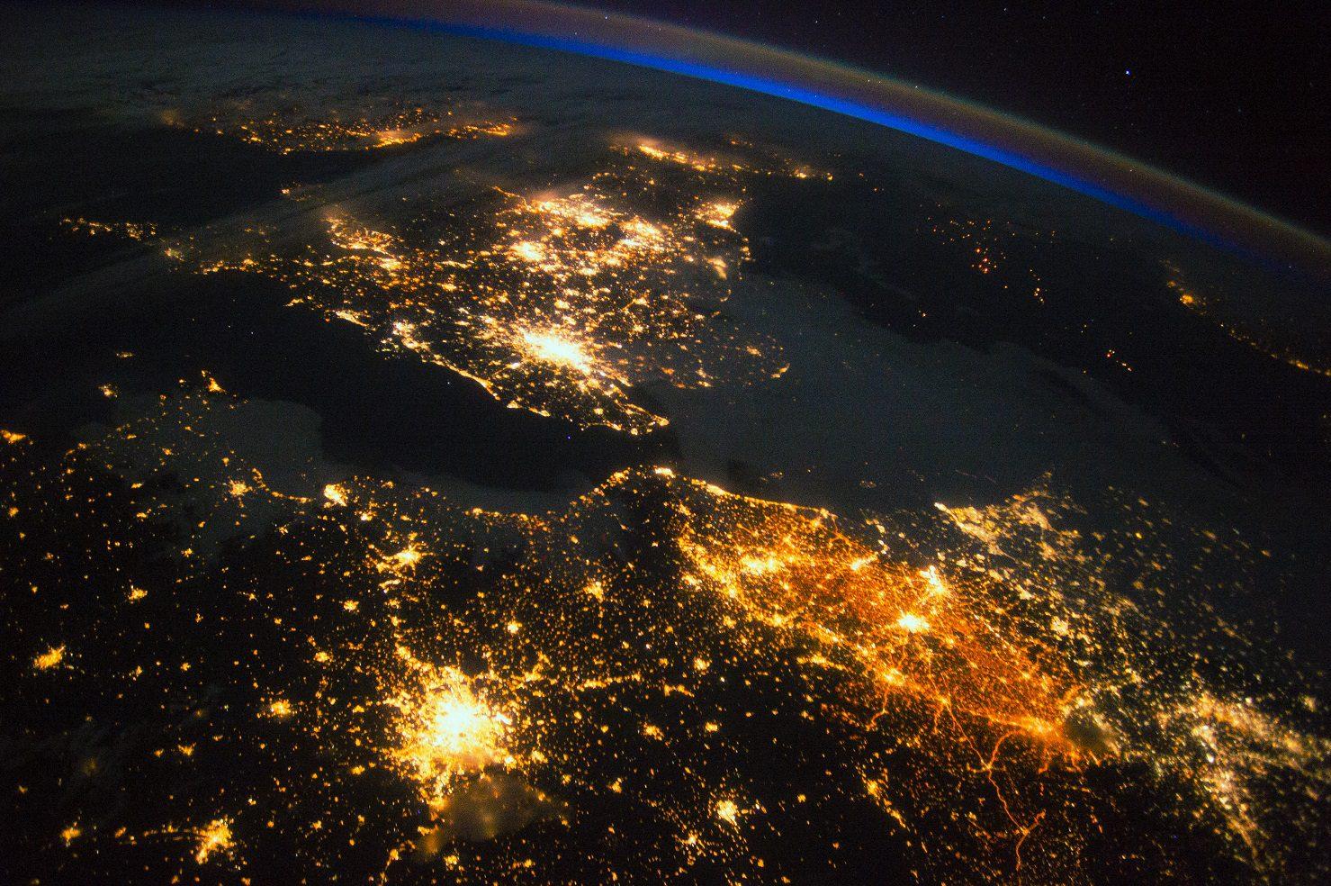 UK and Europe at night from space. Credit: Nasa