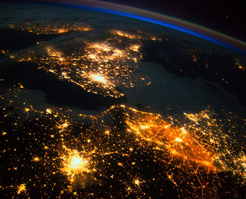 UK and Europe at night from space. Credit: Nasa