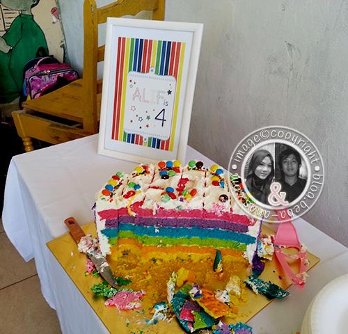 alif is 4 - rainbow cake