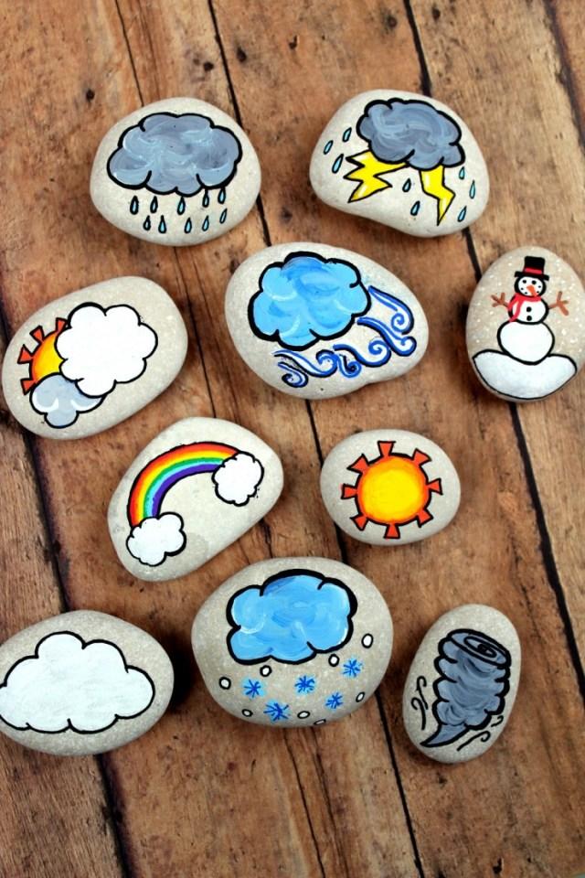 Artesanato de pedras pintadas com símbolos de mudanças climáticas