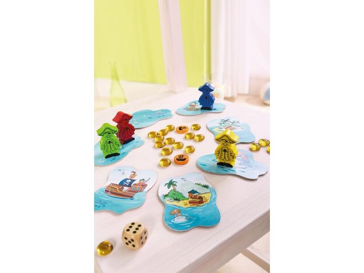 Juego de mesa Piratas de la Suerte en una de las clásicas cajas amarillas pequeñas de HABA. Componentes del juego (descritos en el vídeo).