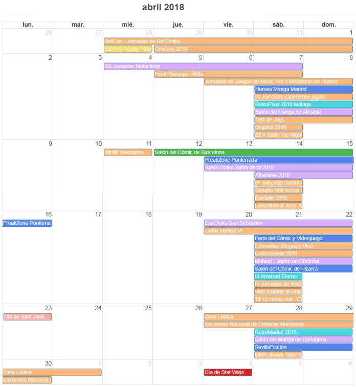 Calendario Friki - Agenda Eventos Abril 2018
