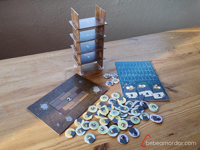 Componentes del juego de mesa El Palomar de Átomo Games