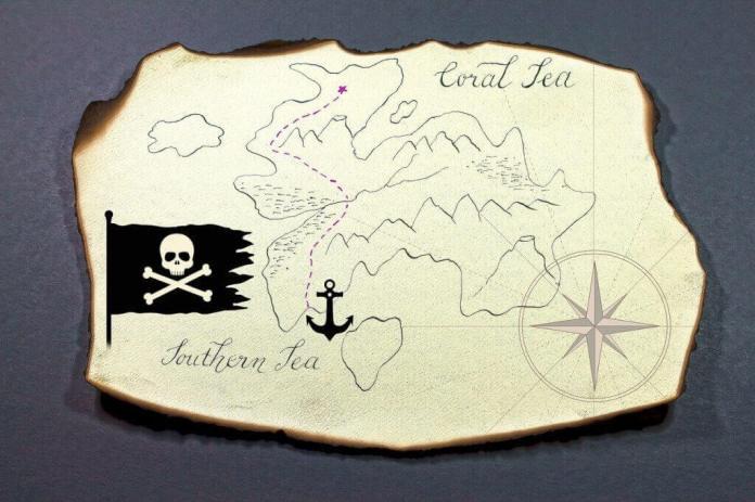 búsqueda del tesoro para niños mapa pirata