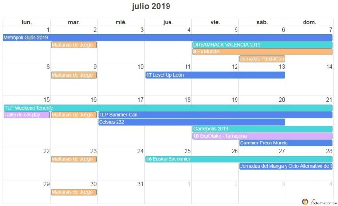 calendario friki de julio 2019 eventos