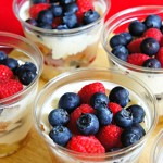 Red White and Blue! Individual Cups of Mixed Berry Trifle