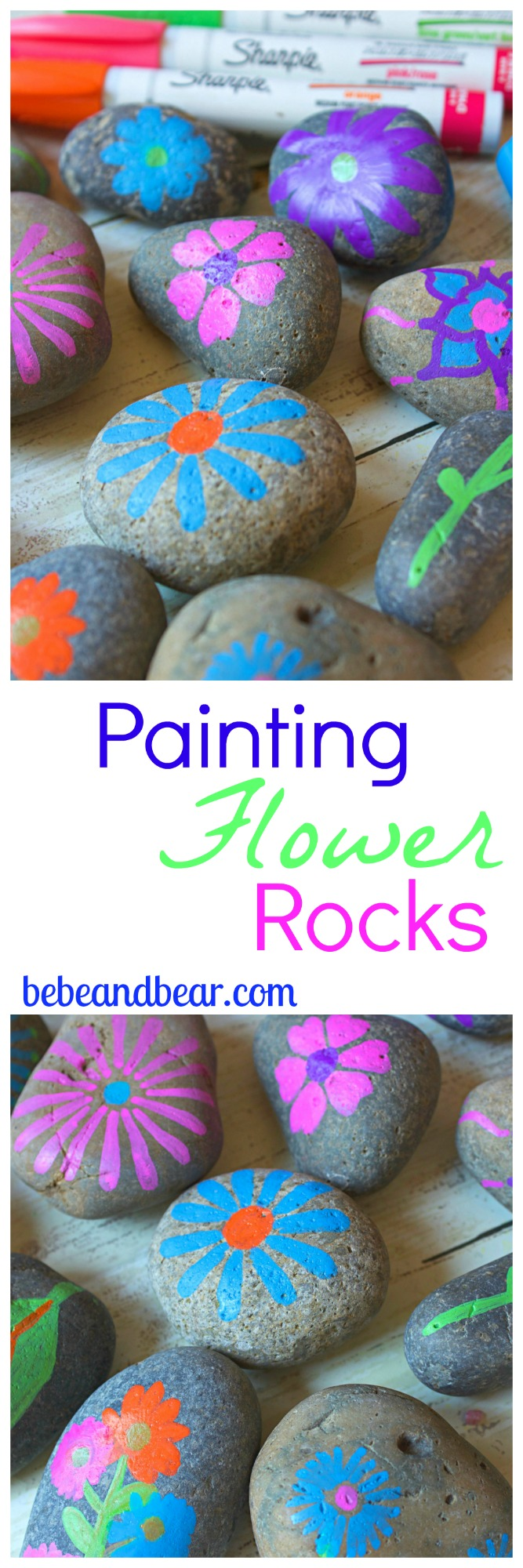 Painting Flower Rocks. Crafts for Kids.