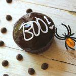 'BOO!' Chocolate Ganache Glazed Halloween Cupcakes