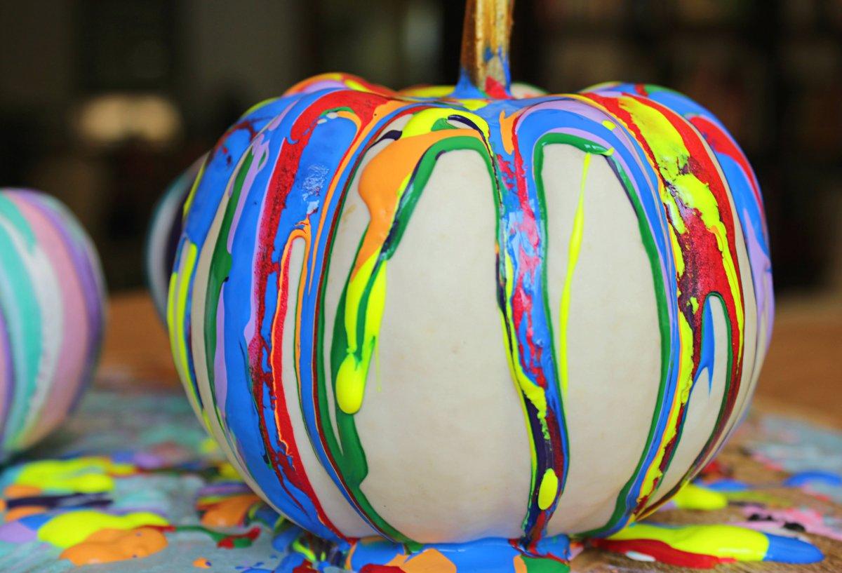 Colorful Rainbow No Carve Drip Paint Pumpkins