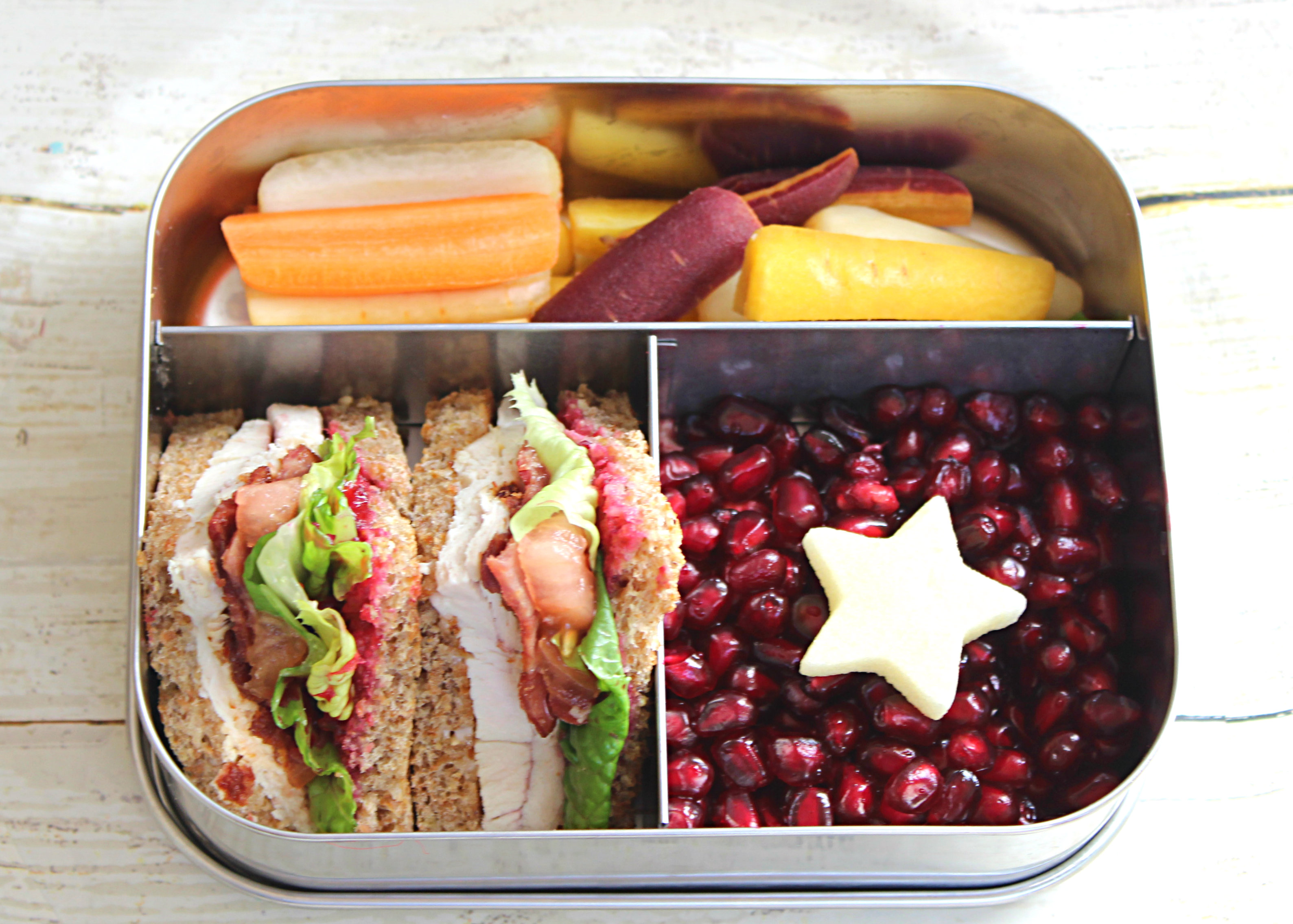 Kids Bento Lunchbox: Healthy Club Sandwich, Multi Colored Carrots and Pomegranates