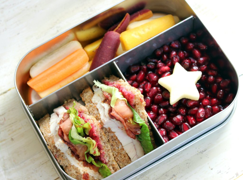 Bento Lunch for Kids: Use Leftover turkey to make Healthy Club sandwiches.