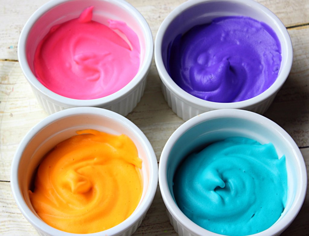 Colorful fun 3 ingredient puffy paint for toddlers and kids.