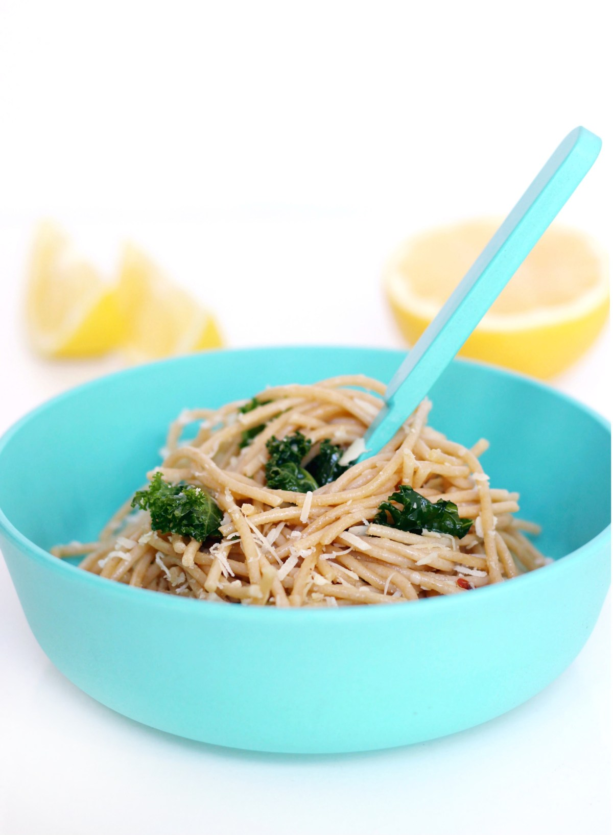 Lemon Kale Pasta with Garlic and Parmesan