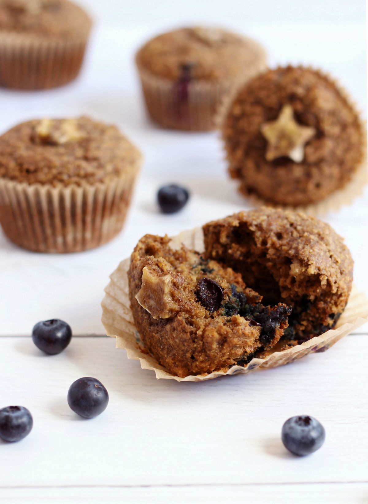 Dairy free blueberry banana muffins sweetened with bananas and little honey.