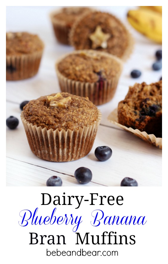 Dairy free Blueberry Banana Bran Muffins sweetened with bananas and little honey.