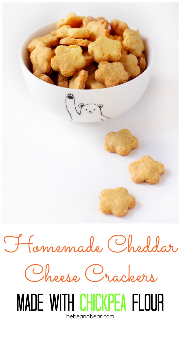 4 ingredient Homemade Cheddar Cheese Crackers made with Chickpea Flour