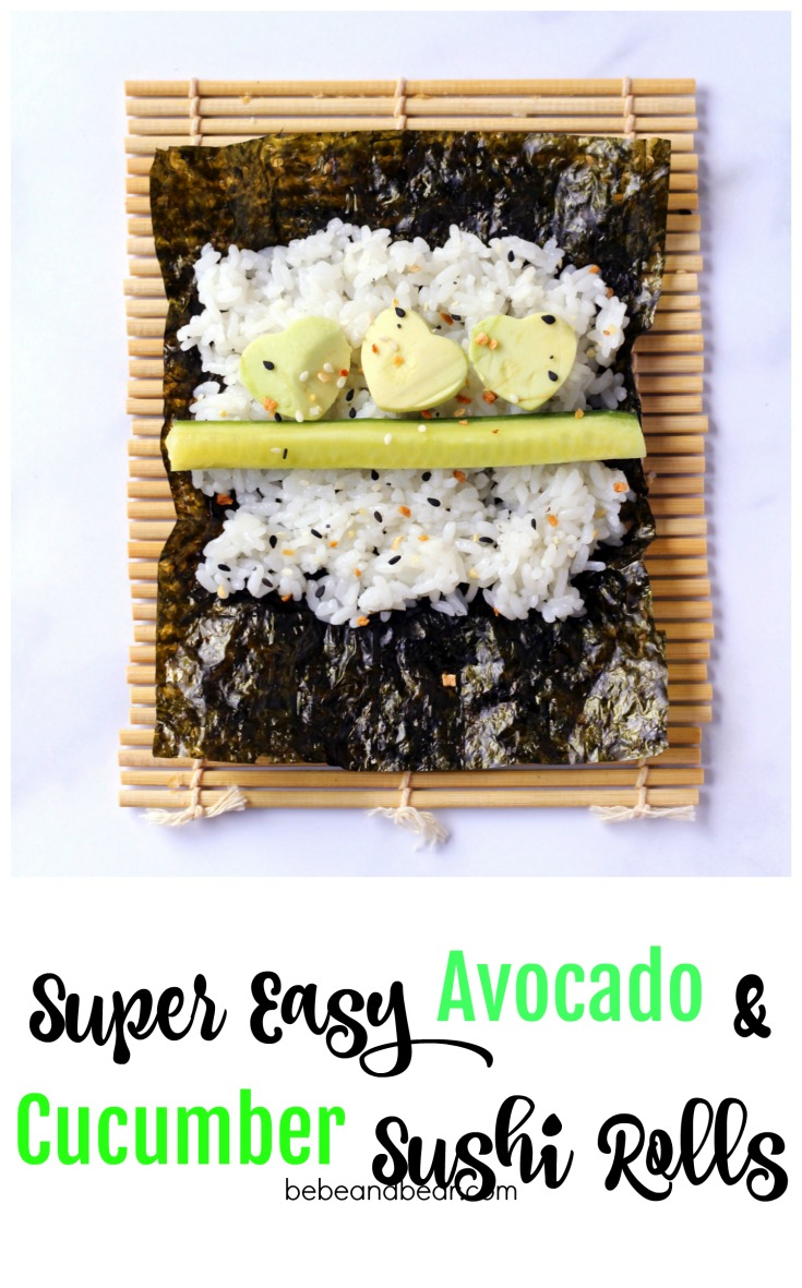 How to make avocado and cucumber sushi rolls. Fun for kids and adults!