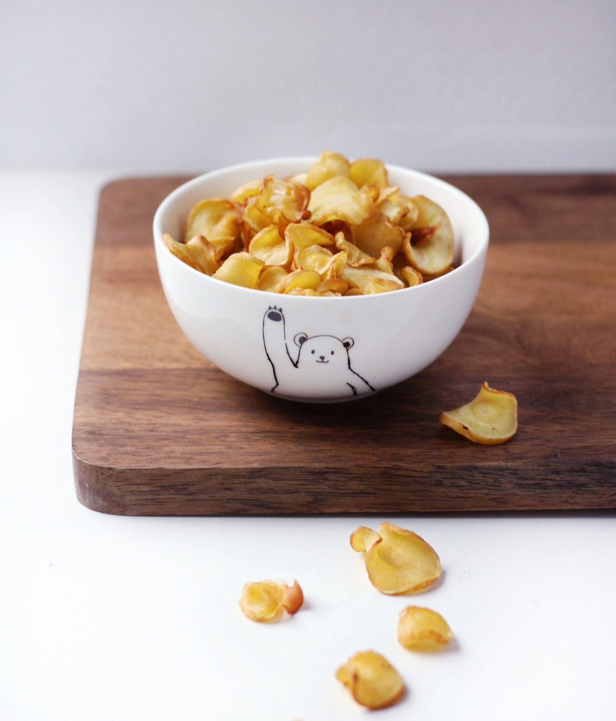 Baked Parsnip Chips with Olive oil and Salt