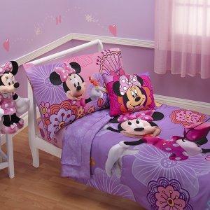 Jogo de Cama MINNIE Edredon, jogo de lençol com 3 peças Disney 4 Piece Minnie's Fluttery Friends Toddler Bedding Set