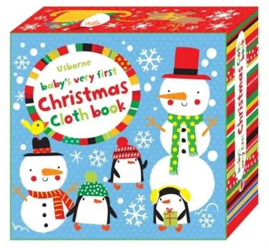Baby's very first Christmas cloth book, Fiona Watt, prima carte a bebelusului de craciun, carte textila bebe craciun, carti bebe, carti usborne
