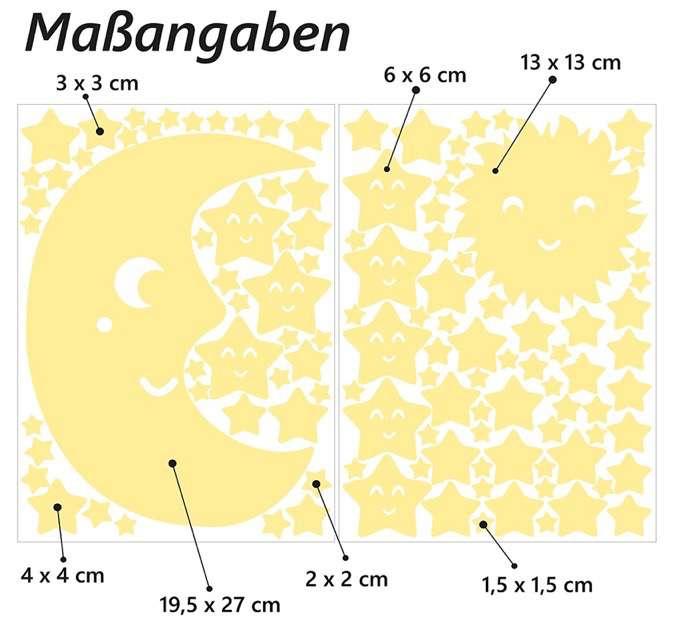 """Wandkings - Adhesivos de pared luminosos, fluorescentes y brillantes en la oscuridad """"Sol, luna y estrellas Juego XL"""" 114 adhesivos en 2 hojas A4"""