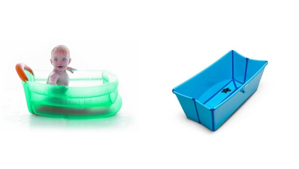 Las 2 mejores bañeras plegables para bebés que te podrás llevar de viaje: Stokke Flexi Bath y la bañera hinchable de Jané