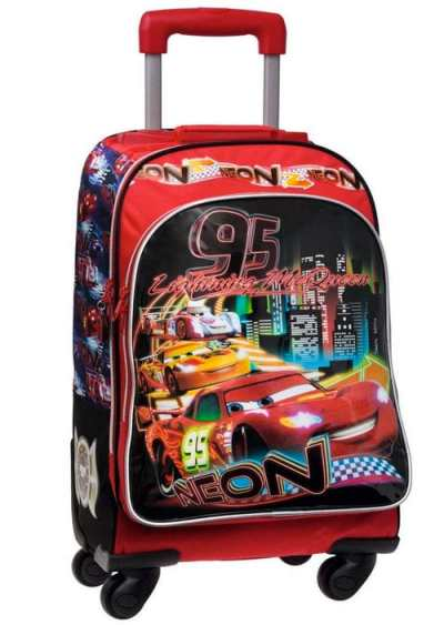 Mochila Cars de Disney con carro de 4 Ruedas