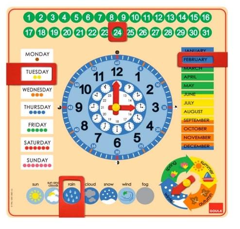 Goula - Reloj y calendario en inglés