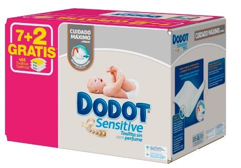 Dodot Sensitive - Toallitas, 9 paquetes x 54 (486 unidades)