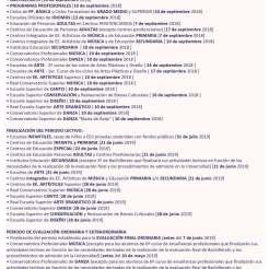 calendario escolar Madrid 2018-2019
