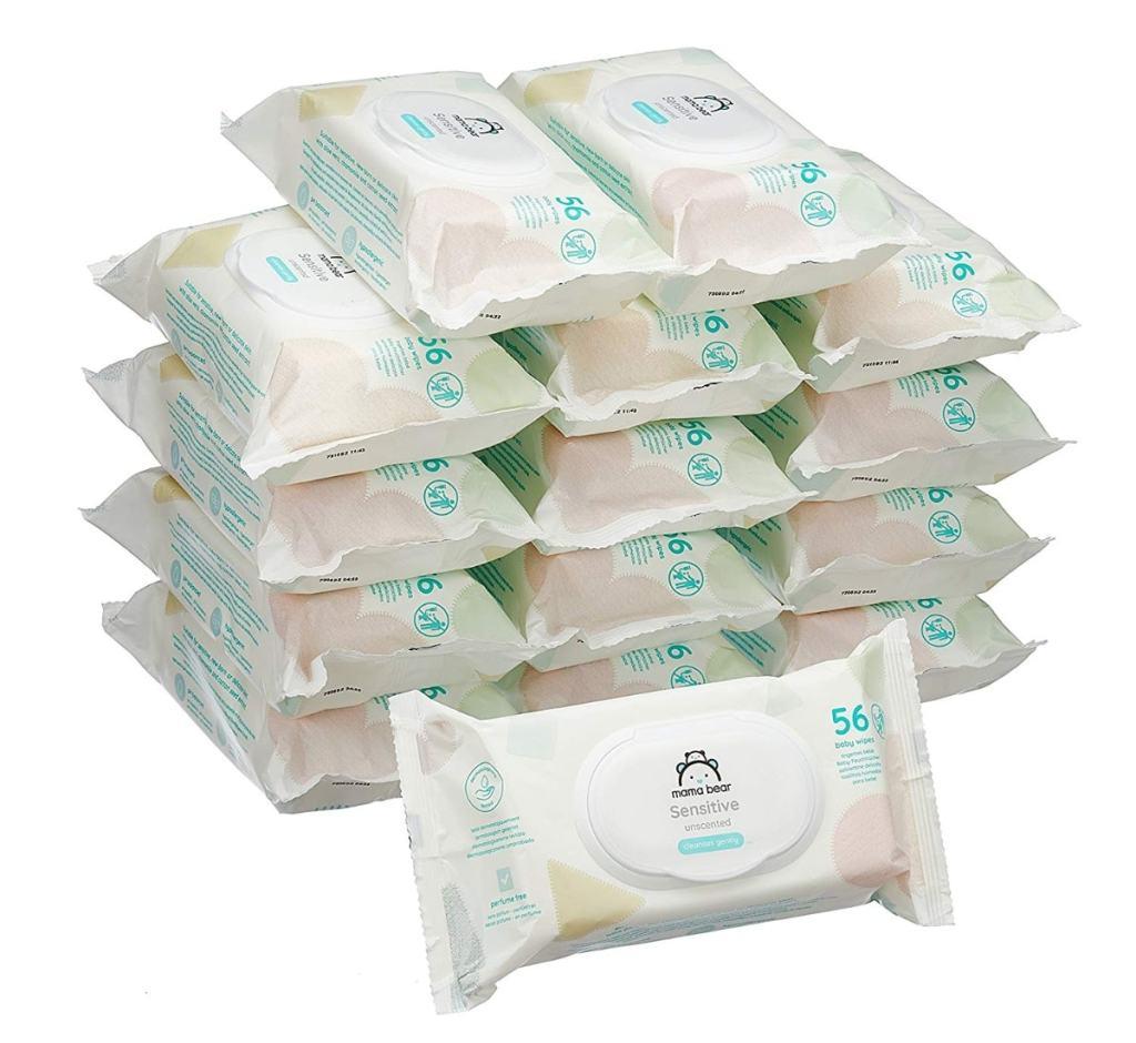 Mama Bear Sensitive Toallitas húmedas para bebé (marca Amazon) - 15 Paquetes