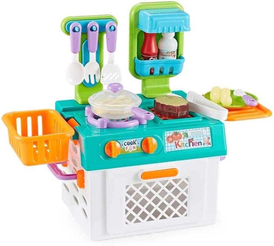 Cocina Infantil y Comida de Juguete con Efecto Luminoso