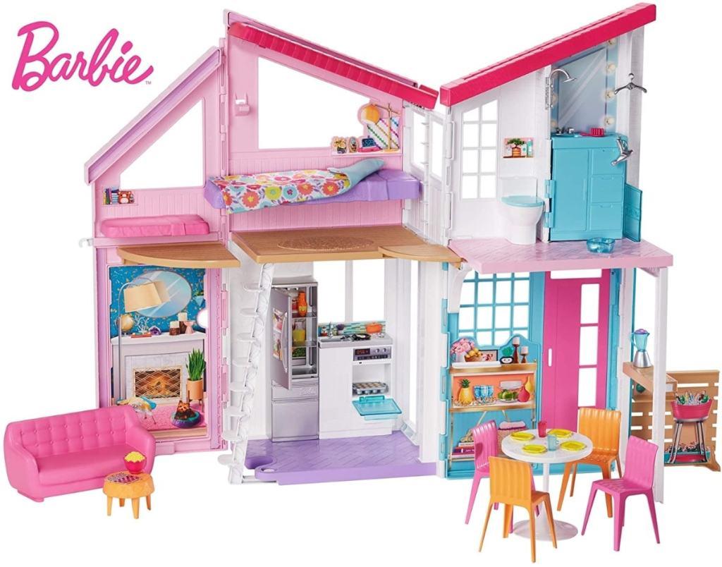 Barbie Malibu, casa de muñecas de Barbie dos pisos plegable con muebles y accesorios