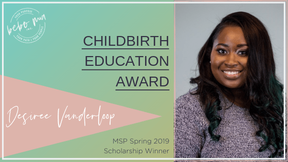 Childbirth Education Award winner Desiree Vanderloop
