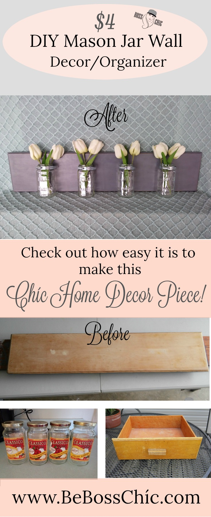 Recycled Jars And Dresser Drawer 4 Diy Mason Jar Wall Decor Organizer Be Boss Chic