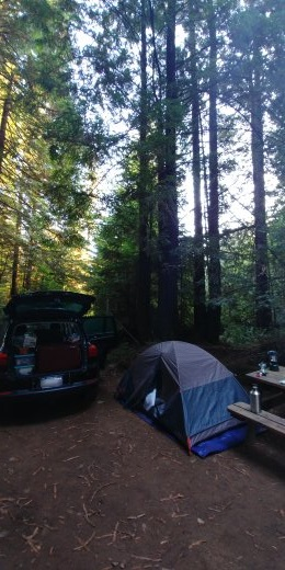 My car was where my tent should have been. Never show up to a new campsite after dark! Crescent City KOA