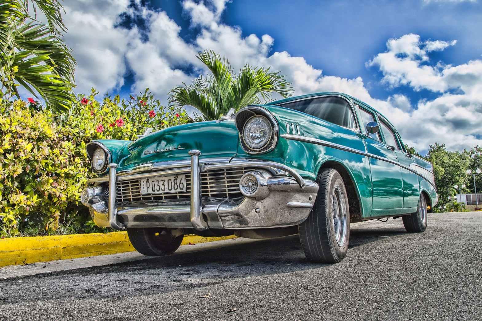 classic blue sedan