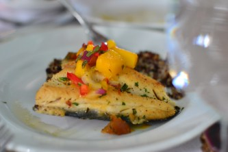Trout with mango salsa