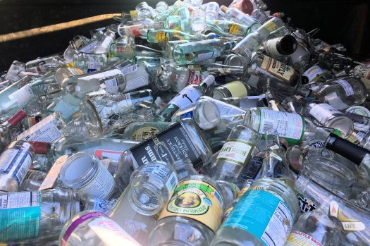 Clear glass bin at one of the recycling centers in Chattanooga. Photo by me.