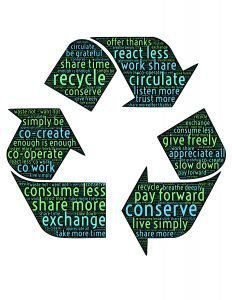 Recycle symbol with inspiring words.