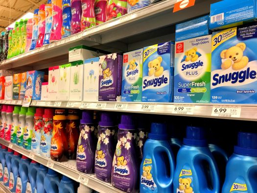 Selection of fabric softeners at the supermarket. Photo by me