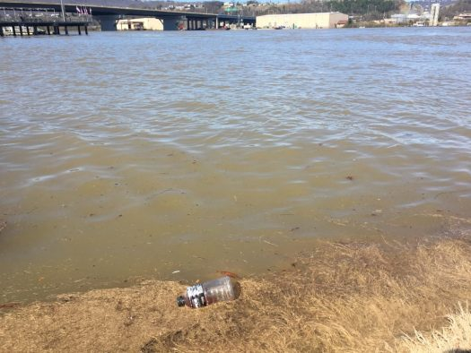 Plastic bottle floating in the Tennessee River. I was able to fish it out. Photo by me.