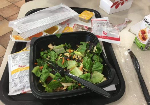 Photo of a fast food meal I had last year on the road. I now try to avoid any restaurants that serve plastic and more plastic. Photo by me.