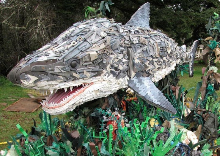 Shark sculpture from plastic