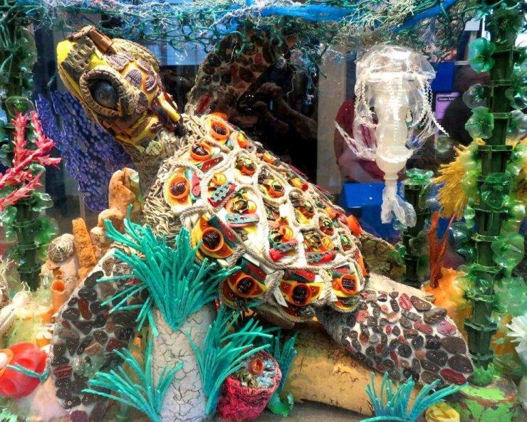 Maury the sea turtle plastic sculpture