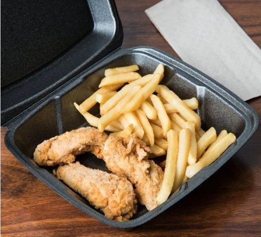 Black Styrofoam take out container