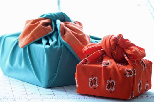 Two furoshiki wrapped gifts