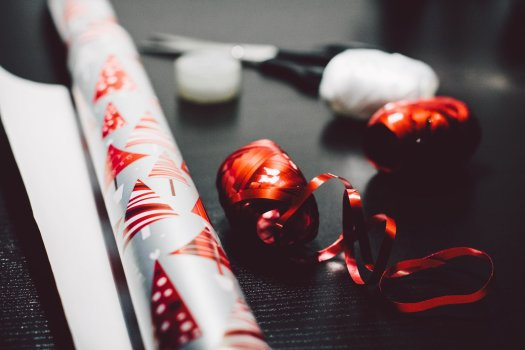 Christmas wrapping paper and ribbon